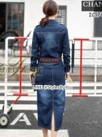 MAXY DRESS JEAN FROM KOREA คอปก แขนยาว เนื้อผ้ายีนส์ผสม spendex สีเข้มสวย เนื้อดีมาก