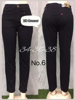 "No.6 กางเกงยีนส์ไซส์ใหญ่สีดำแบบเรียบผ้ายืด เอว 34,36, 38"" ซิปหน้า ทรงเดฟสวยค่ะ"