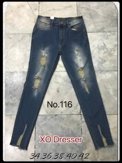 """No.116 กางเกงยีนส์ไซส์ใหญ่แต่งขาดเท่ๆ เอว 34,36,38,40, 42"""" ผ้ายีนส์แท้ ผ้ายืด"""