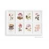 ภาพพิมพ์ลายดอกไม้ 8 ช่อง กรอบไม้สีขาว