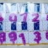 เทียนวันเกิดตัวเลขสีม่วง ลายดาวลายจุดสีขาว เลข 0-9