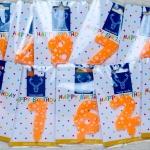 เทียนวันเกิดตัวเลขสีส้ม ลายดาวลายจุดสีขาว เลข 0-9
