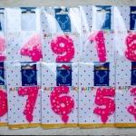 เทียนวันเกิด ตัวเลข สีชมพู ลายดาว