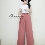 กางเกงเอวสูงแฟชั่น สีชมพู