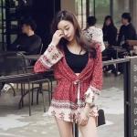 จั๊มสูทแฟชั่น Red Boho jumpsuit