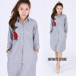 Infinite Store Embroidery Elegant Flower Classic Dress shirt with pocket
