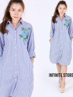 Infinite Store Embroidery Luxury Flower stripe classic dress shirt with pocket