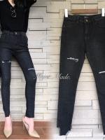 กางเกงยีนส์เอวสูงแฟชั่นสีดำ