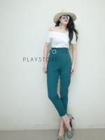 กางเกงเอวสูงแฟชั่น เขียว