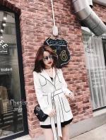 เสื้อคลุมแฟชั่น Korea B&W Blazer ปกสูทคอวี สีขาว