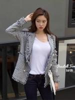 เสื้อคลุมแฟชั่น Blazerเกาหลีผ้าทวีตแต่งขอบลุ่ย
