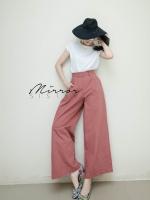 กางเกงเอวสูงขากระบอกแฟชั่นสีชมพู