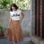 กระโปรงแฟชั่น Vela skirt กระโปรงทรงเอ สีน้ำตาล