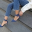 รองเท้าส้นสูงแฟชั่นสีน้ำเงิน