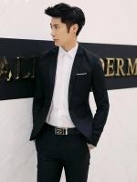 ชุดสูทชาย แฟชั่น ผ้าโพลีเอสเตอร์ กางเกงขากระบอกเล็ก สีดำ 2XL *สูท+กางเกง*