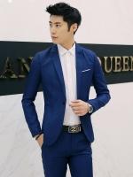 ชุดสูทชาย แฟชั่น ผ้าโพลีเอสเตอร์ กางเกงขากระบอกเล็ก สีน้ำเงิน XL *สูท+กางเกง*
