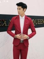ชุดสูทชาย แฟชั่น ผ้าโพลีเอสเตอร์ กางเกงขากระบอกเล็ก สีแดง M *สูท+กางเกง*