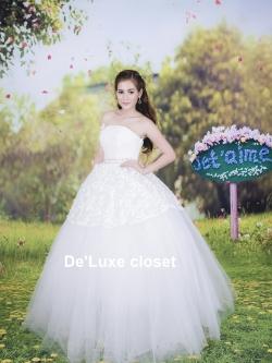ชุดแต่งงานยาว เจ้าสาวใส่แล้วดูผอมเพรียวมากค่ะ พร้อมส่ง Size S-L