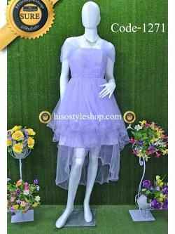 พร้อมส่ง Size L ชุดราตรีหน้าสั้นหลังยาว ผ้ามุ้งเนื้อนิ่ม แต่งดอกไม้ที่เอว สามารถใส่ได้ 7 แบบค่ะ