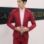 สูท,ชุดสูทชาย แฟชั่น ผ้าโพลีเอสเตอร์ กางเกงขากระบอกเล็ก สีแดง XL *สูท+กางเกง* thumbnail 1