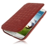 Case เคส หนังแกะสาน แบบพลิกแนวนอน Samsung GALAXY S4 IV (i9500)(Scarlet Red)