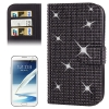 Rubbery Diamond Encrusted for Samsung Galaxy Note II / N7100 (Black)