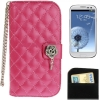 Case เคส Plaid Texture Diamond Flower Case Samsung Galaxy S 3 III (i9300)(Magenta)
