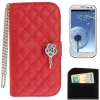 Case เคส Plaid Texture Diamond Flower Case Samsung Galaxy S 3 III (i9300)(Red)