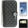 Case เคส Plaid Texture Diamond Flower Case Samsung Galaxy S 3 III (i9300)(Black)