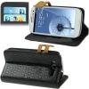 Case เคส Horizontal Flip Weave Samsung Galaxy S 3 III (i9300)(Black)