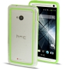 Case เคส TPU + Transparent Plastic Bumper Frame HTC One M7 (Green)