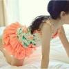 Amber Bear (made in Korea) ชุดเซ็ทเสื้อลายดอกไม้สีส้ม กับกางเกงแต่งระบายสีสันสดใส ผ้าดี เหมาะกับ summer นี้ค่ะ size 7-15