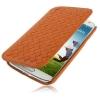 Case เคส หนังแกะสาน แบบพลิกแนวนอน Samsung GALAXY S4 IV (i9500) redictshop สีส้ม