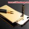 (025-155)เคสมือถือ Case Huawei P8 Lite เคสกรอบโลหะพื้นหลังอะคริลิคเคลือบเงาทองคำ 24K