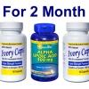 เซตผิวขาวกระจ่างใส - Ivory Caps Lightening Program ผิวขาวครบสูตร (สำหรับ 2 เดือน) เซ็ตคู่ยอดนิยม Ivory Caps 1500 mg 2 ขวด + Puritan ALA 300 mg Softgel 60 เม็ด ผิวขาวกระจ่างใส ลดความหมองคล้ำ ต้านริ้วรอย คุณภาพ อย.USA