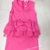 (เด็กโต) เดรสสั้น สีชมพูบานเย็นแขนกุด แต่งโบว์ใหญ่ ต่อระบายชั้นๆ ช่วงเอว งานสวย ใส่ออกงานได้ ไม่ซ้ำใคร size 13-17 ( 8-15 ปี)