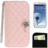 Case เคส Plaid Texture Diamond Flower Case Samsung Galaxy S 3 III (i9300)(Pink)