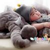 รุ่นใหม่ หมอนช้าง ตุ๊กตาช้าง แบบมีผ้าห่ม เนื้อนุ่ม ขนไม่ร่วง >>ส่งฟรีลงทะเบียน