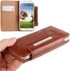 Case เคส แบบกระเป๋า สีน้ำตาล Samsung GALAXY S4 IV (i9500)