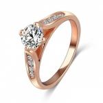 แหวนเพชรCZ ตัวเรือนเคลือบทองชมพู 18k ทรงเพชรชู ขนาดแหวนเบอร์ 17 mm.