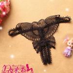 Butterfly Sexy G-string กางเกงในเปิดเป้า จีสตริงเปิดเป้าลายผีเสื้อสีดำ สุดเซ็กซี่