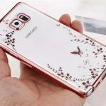 (436-032)เคสมือถือซัมซุง Case Samsung Galaxy S7 เคสนิ่มใสขอบชุบแววพื้นหลังลายดอกไม้ผีเสื้อ