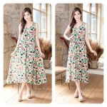 Fun Flowers Polkadots Loose Maxi Dress ขาว