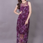 Allure Maxi Lace Dress สีม่วง