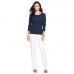 Lauren Woman Zip-Shoulder Cotton Tee (navy)