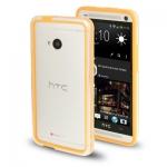 Case เคส TPU + Transparent Plastic Bumper Frame HTC One M7 (Orange)