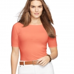 Lauren Petite Stretch Cotton Boatneck Tee (coral)