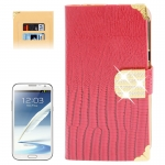 Lizard Texture Diamond Encrusted Button for Samsung Galaxy Note II / N7100 (Red)