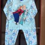 Disney - Frozen (งานลิขสิทธิ์) ชุดนอนเจ้าหญิงโฟร์เซ่น สีฟ้าแขนขา ยาว จั๊ม ผ้า cotton นิ่ม ใส่สบายค่ะ size 4-10