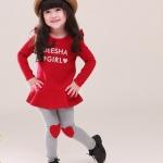ชุดเสื้อเด็กสีแดง พร้อมกางเกงน่ารัก อายุ 1-5 ปี มีไซร์ 100, 110, 120, 130, 140